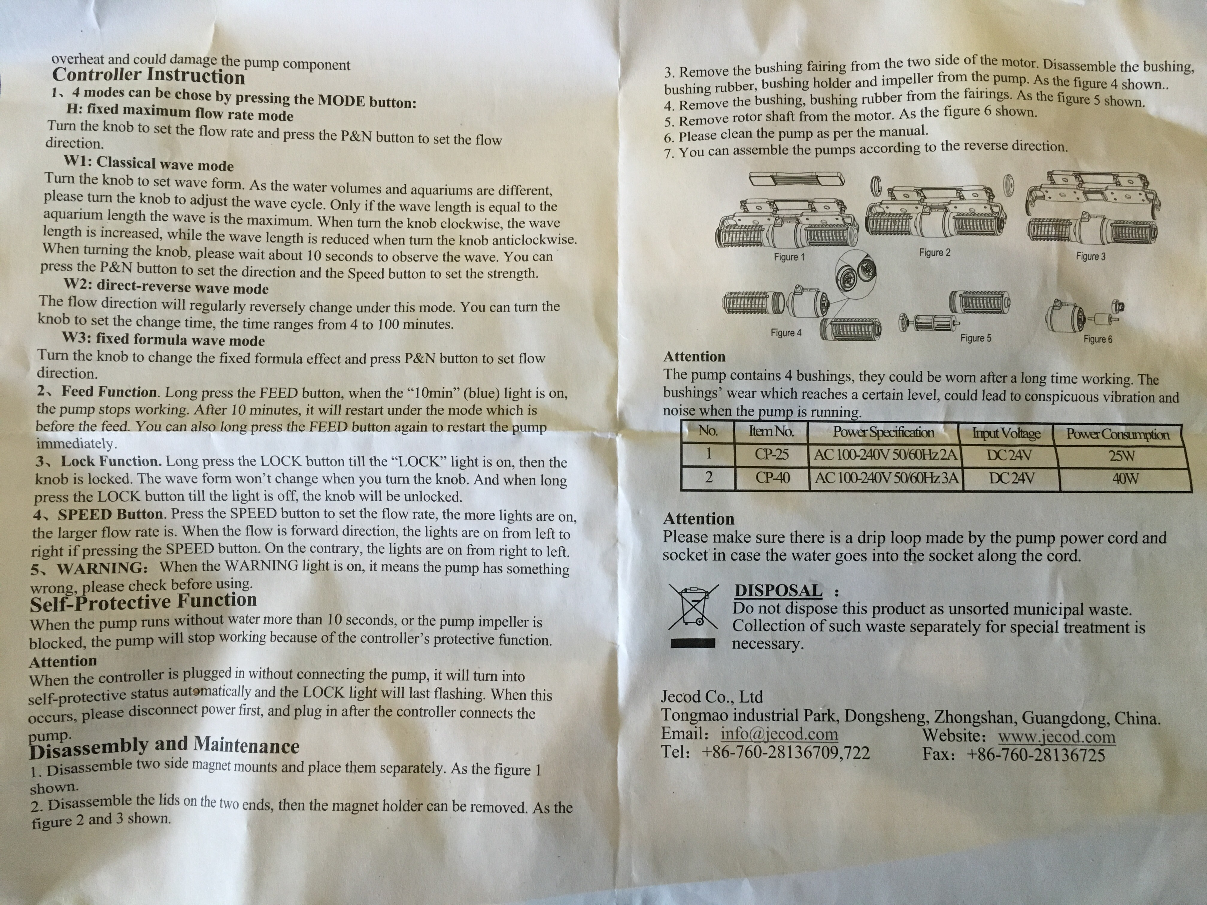jecod cp 40 instructions